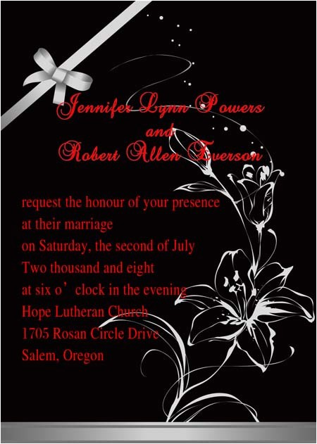 classic red and black floral wedding invitations ewi152