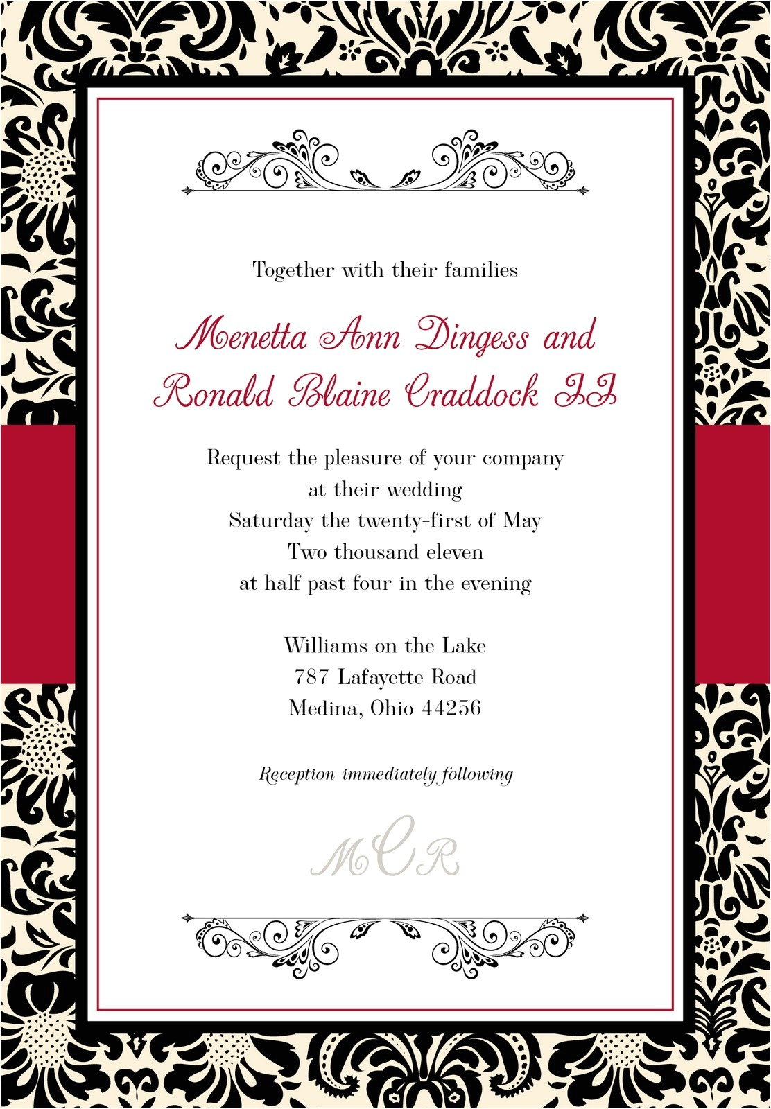 black and red wedding invitations template