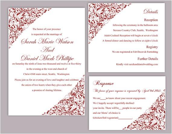 blank red wedding invitation template