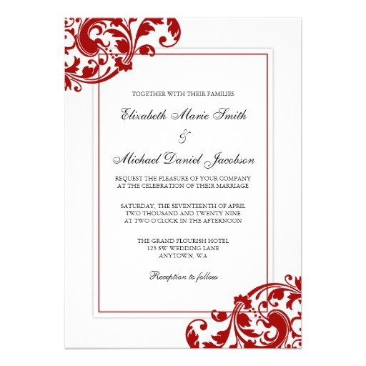 free red and white wedding invitation templates