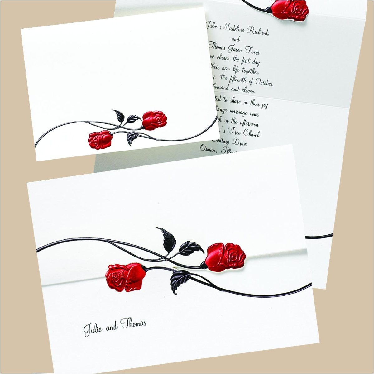 red black and white wedding invitations template