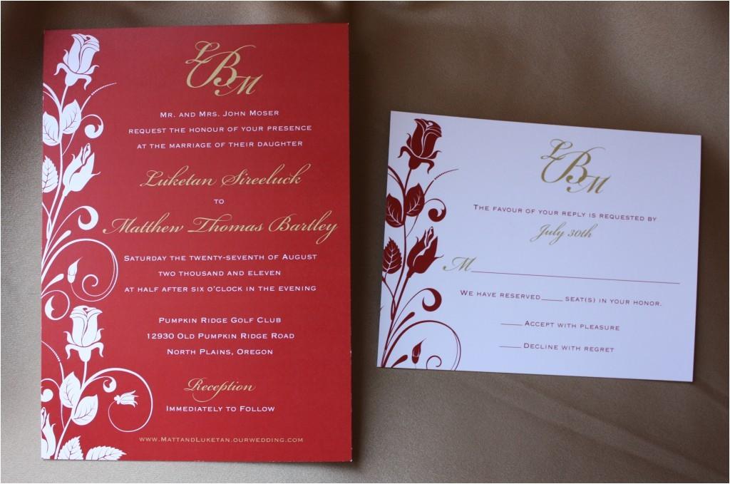 red and gold rose vine swirl wedding stationery