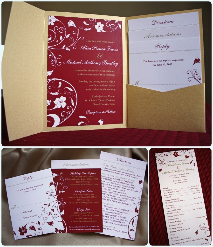 Red White and Gold Wedding Invitations Red and Gold Tropical Flower Pocketfold Invitations and