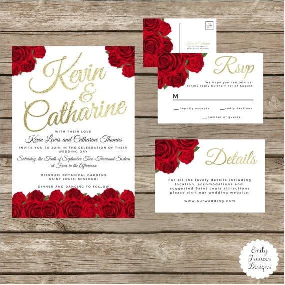 custom 5x7 red roses gold wedding