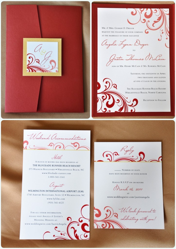 red swirl with gold accents pocketfold wedding invitations