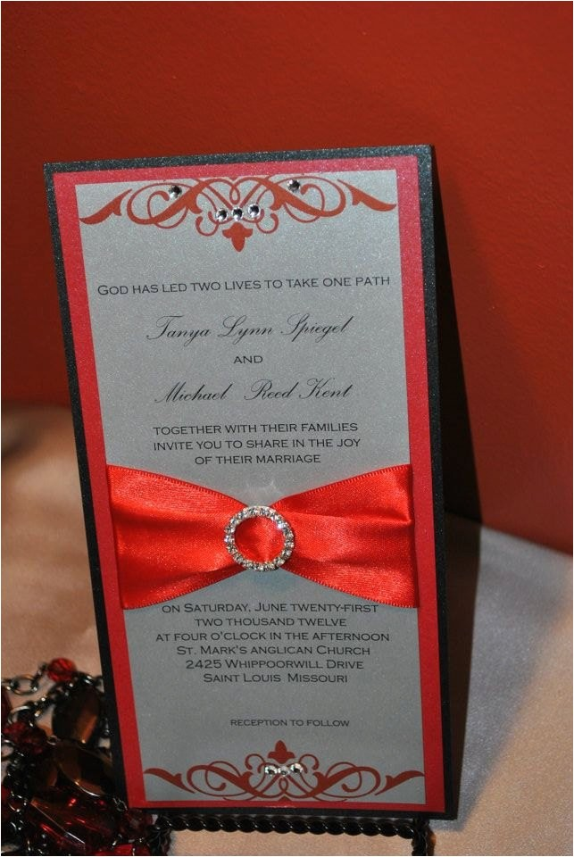 red silver and black wedding invitation