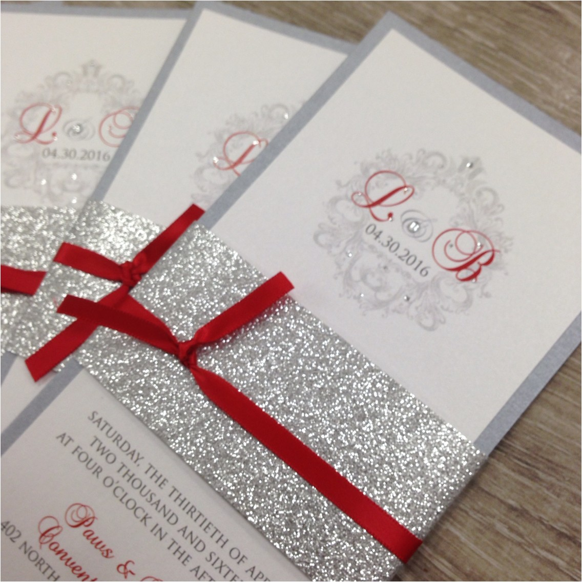 red white and silver wedding invitations
