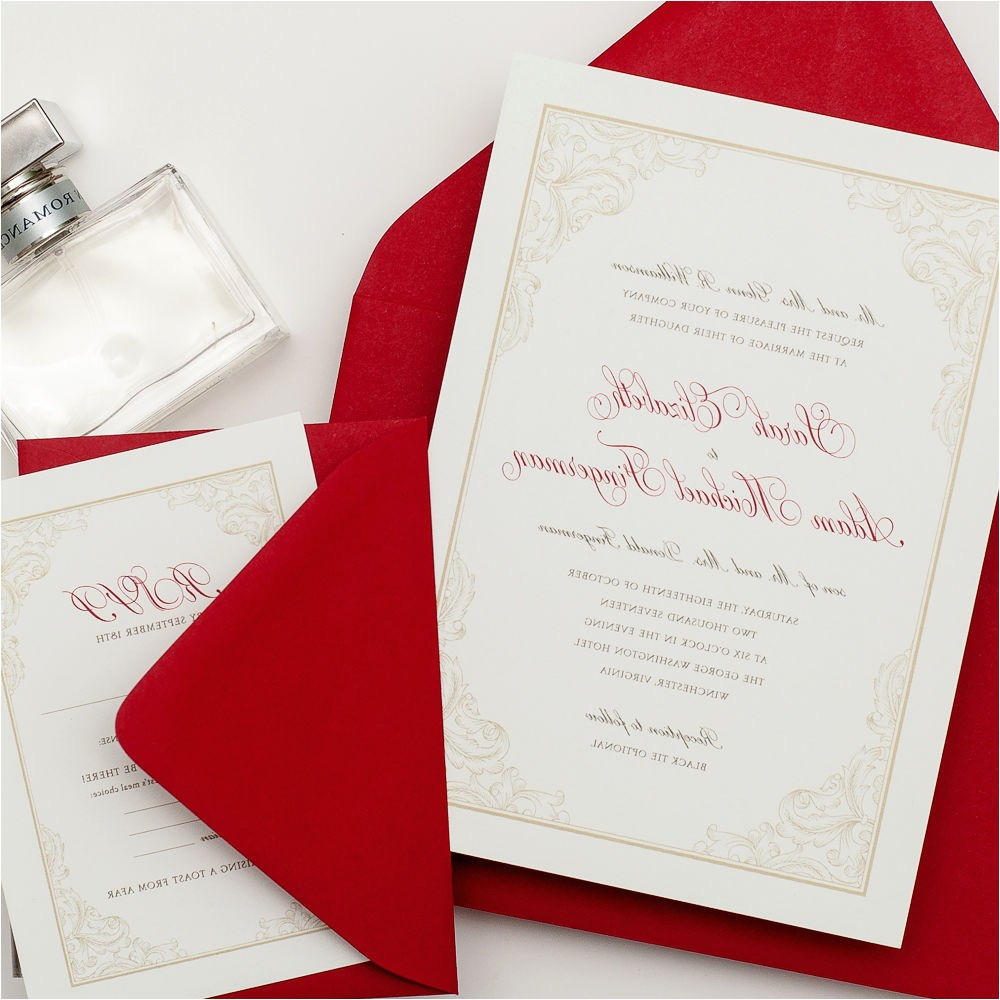 white silver and red wedding invitations