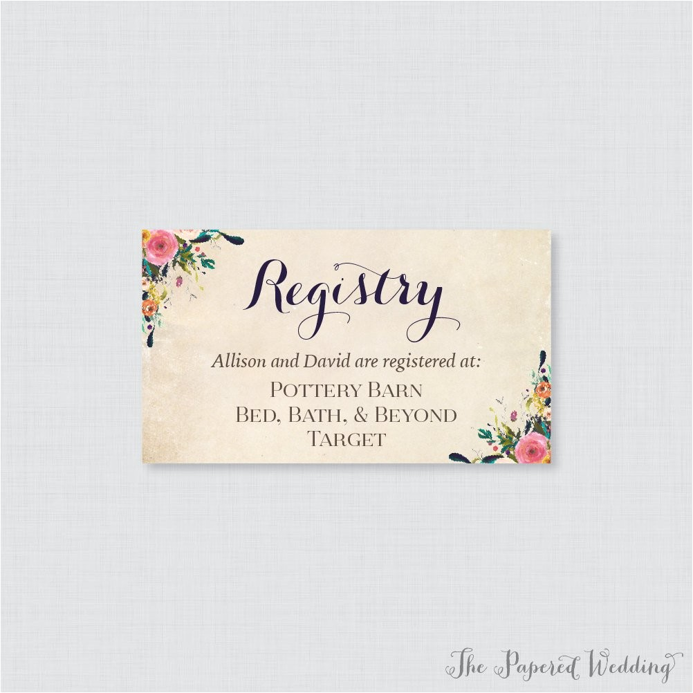 printable or printed wedding registry