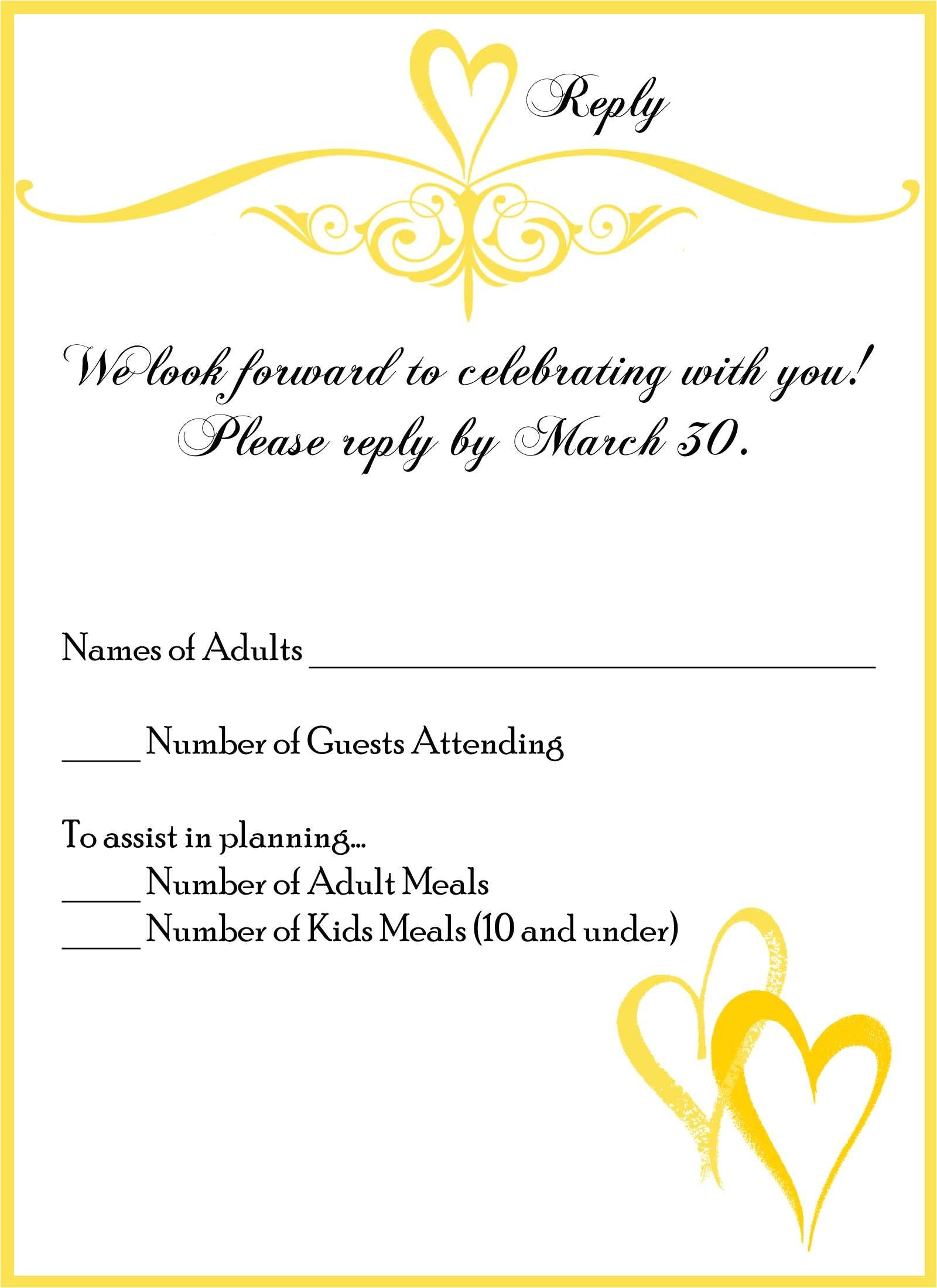 wedding invitation reply card wording samples