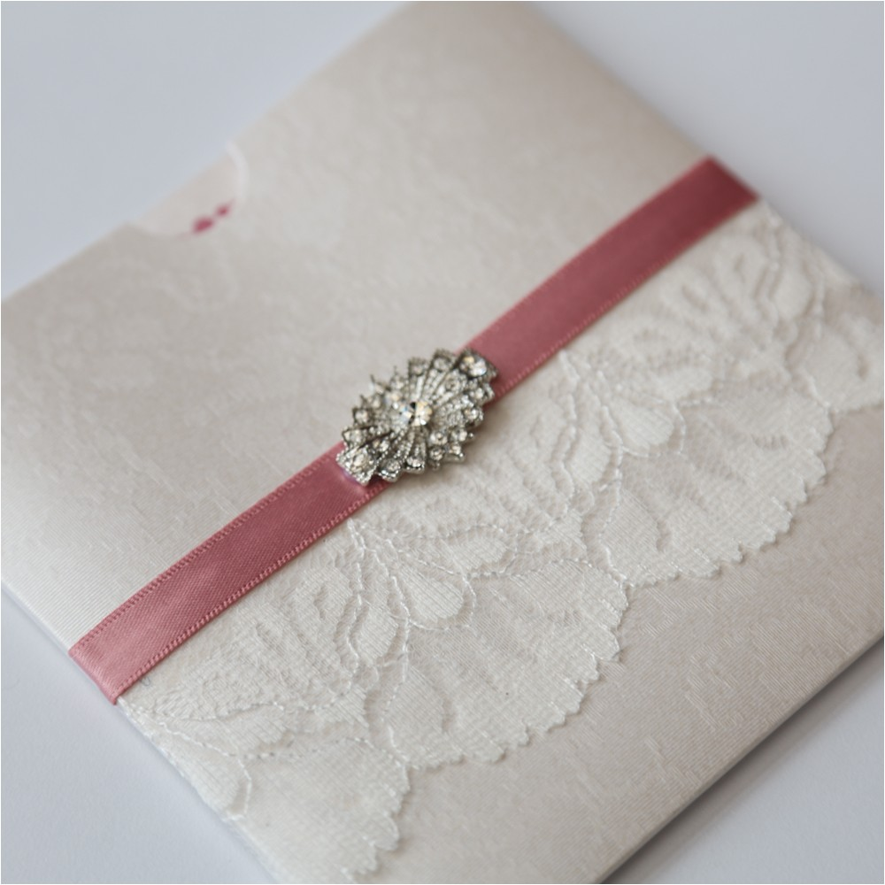 antique ivory lace and vintage brooch wallet invitation p6741