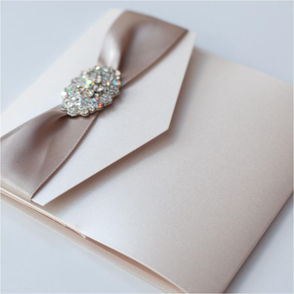 ivory vintage chandelier pocketfold wedding invitation mink
