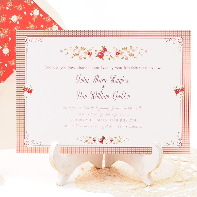 romantic wedding invitation sample