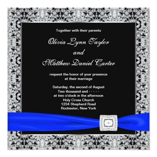 royal blue black silver lace wedding invitation 161621978218997594