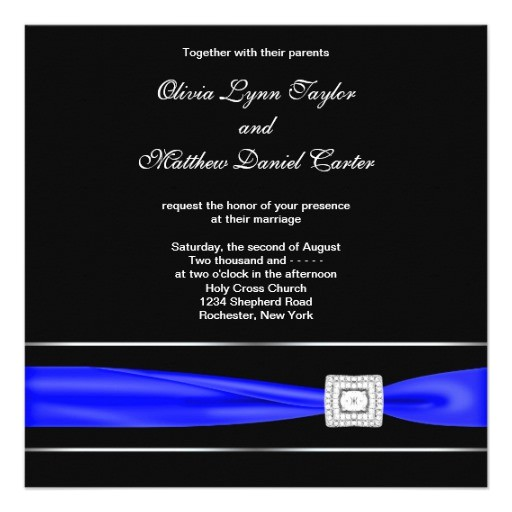 royal blue black wedding invitations 161384499325956355