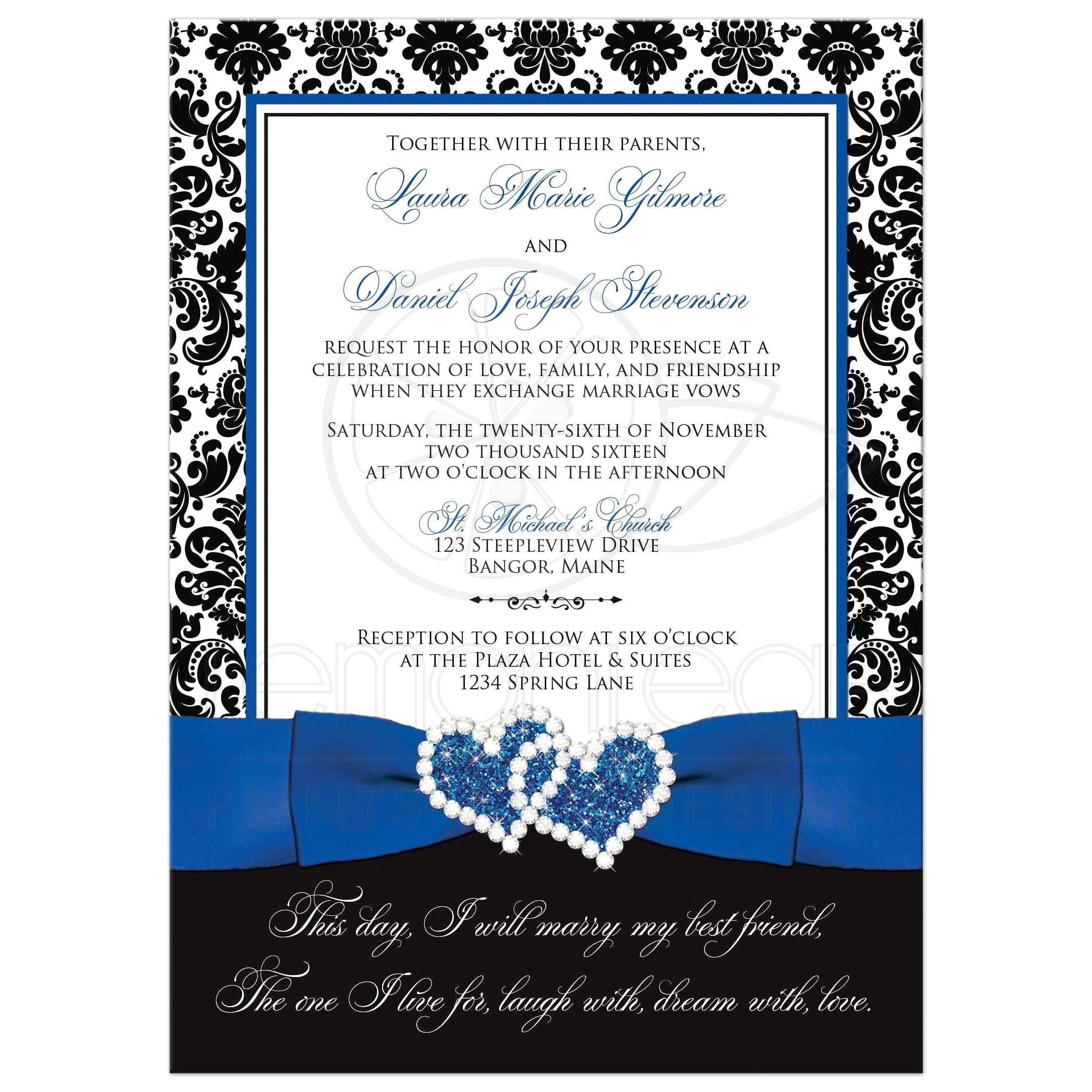 wedding invitation optional photo royal blue white black damask printed ribbon jeweled joined hearts