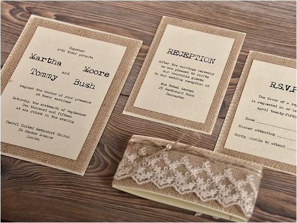 sample rustic wedding invitation