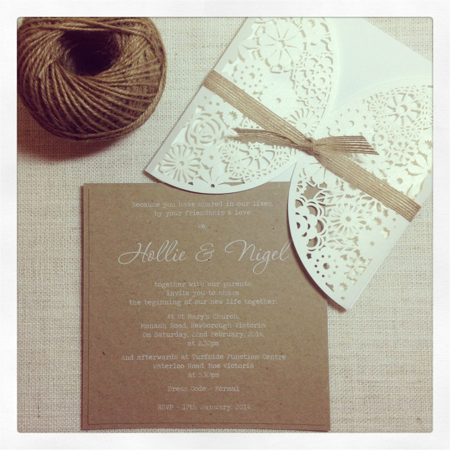 rustic wedding invitation laser cut
