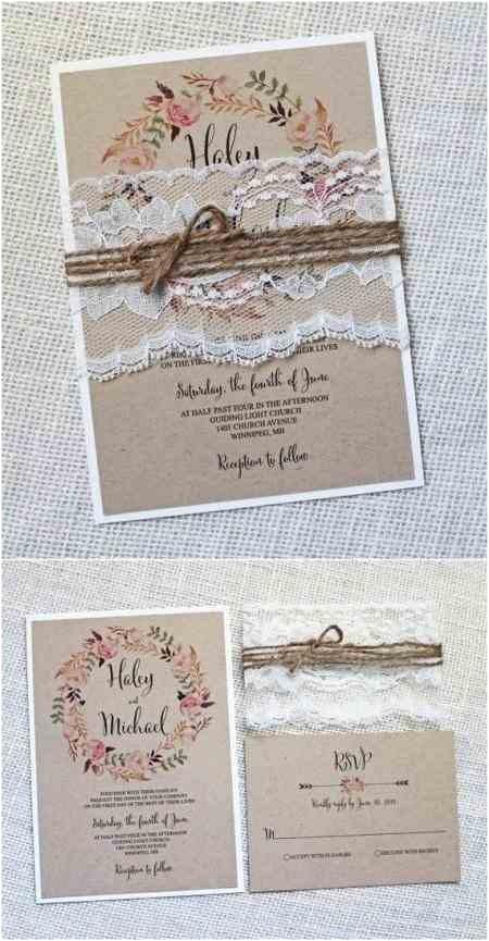 Rustic Wedding Invitations Under $1 Personalized Rustic Vintage Lace Wedding Invitations