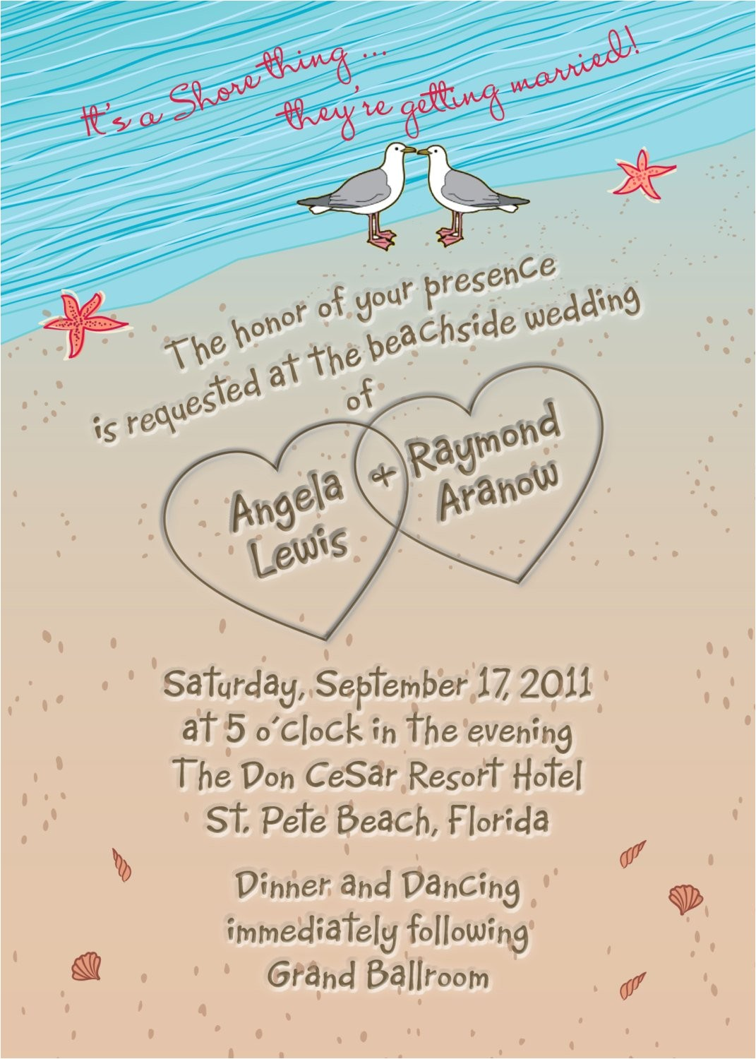 beach wedding invitation with hearts in