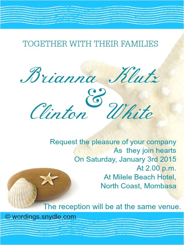 beach wedding invitation wordings