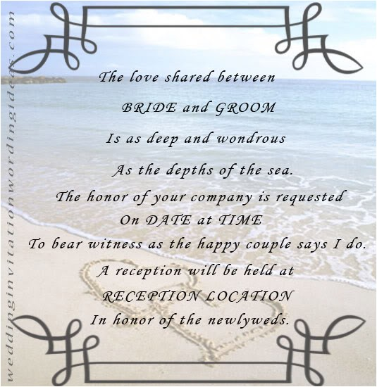 Sample Beach Wedding Invitation Wording Free Beach Wedding Invitation Wordings Samples