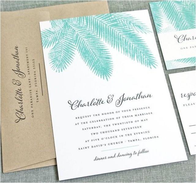 new charlotte teal palm tree wedding invitation sample beach destination tropical wedding invitation