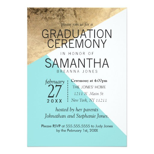 gold blue white geo triangles graduation ceremony 5x7 paper invitation card 256874867362388041