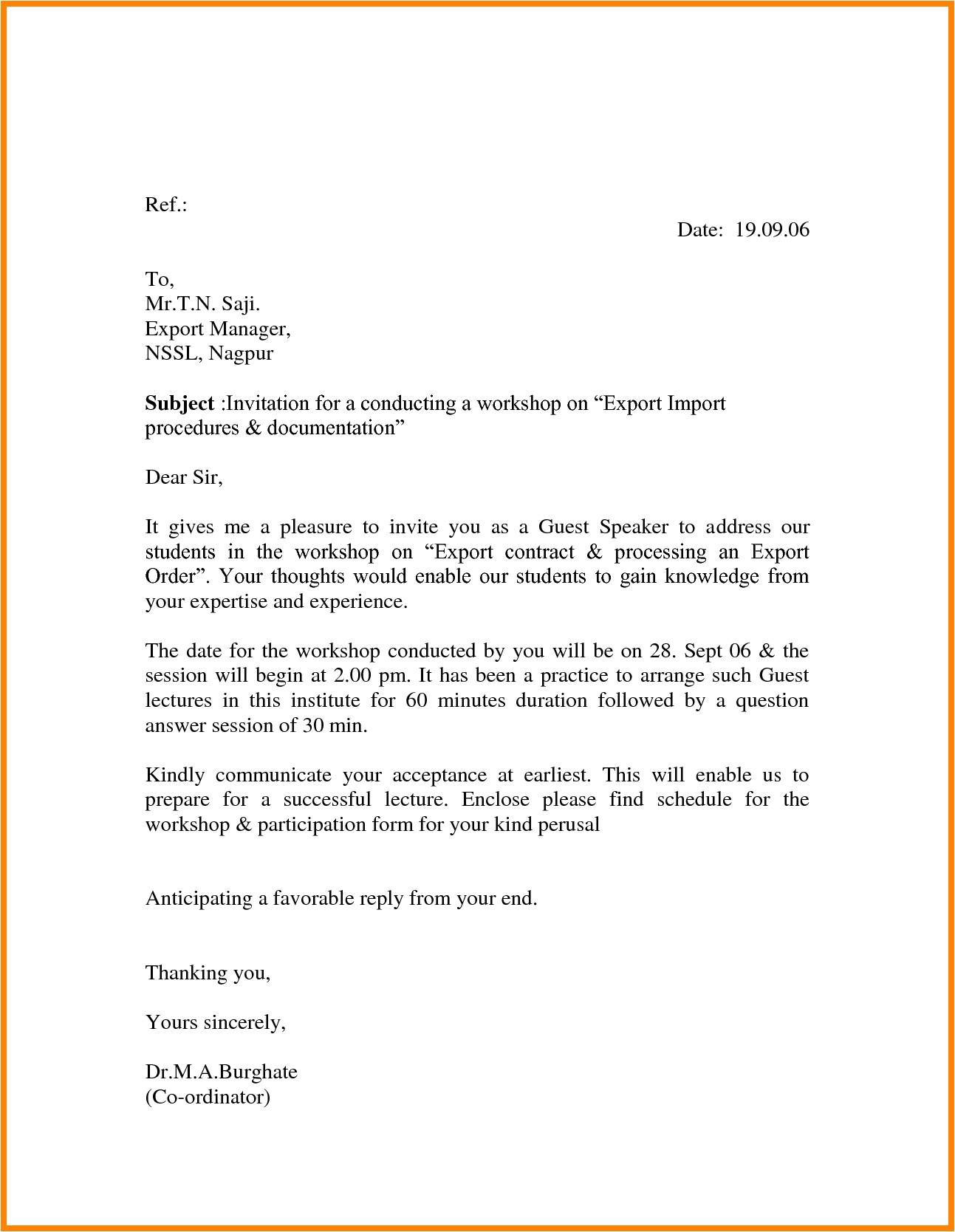 sample invitation letter for guest speak