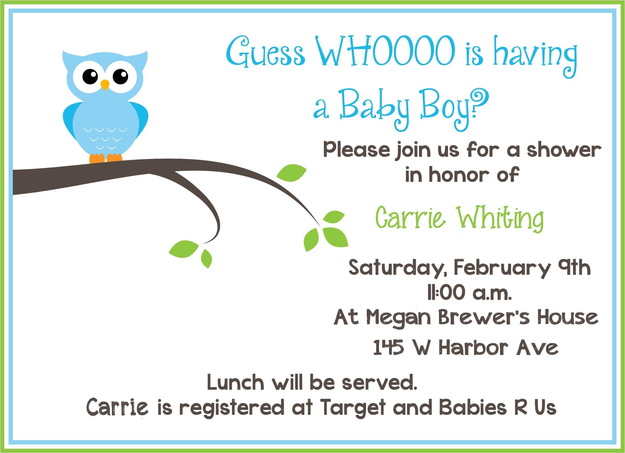 Sample Of Baby Shower Invitation Wording Blog