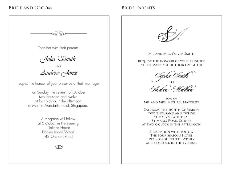 wedding invitation in english text