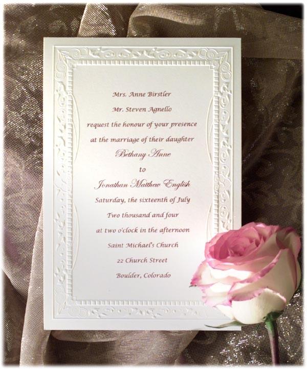 formal wedding invitation wording etiquette parte two