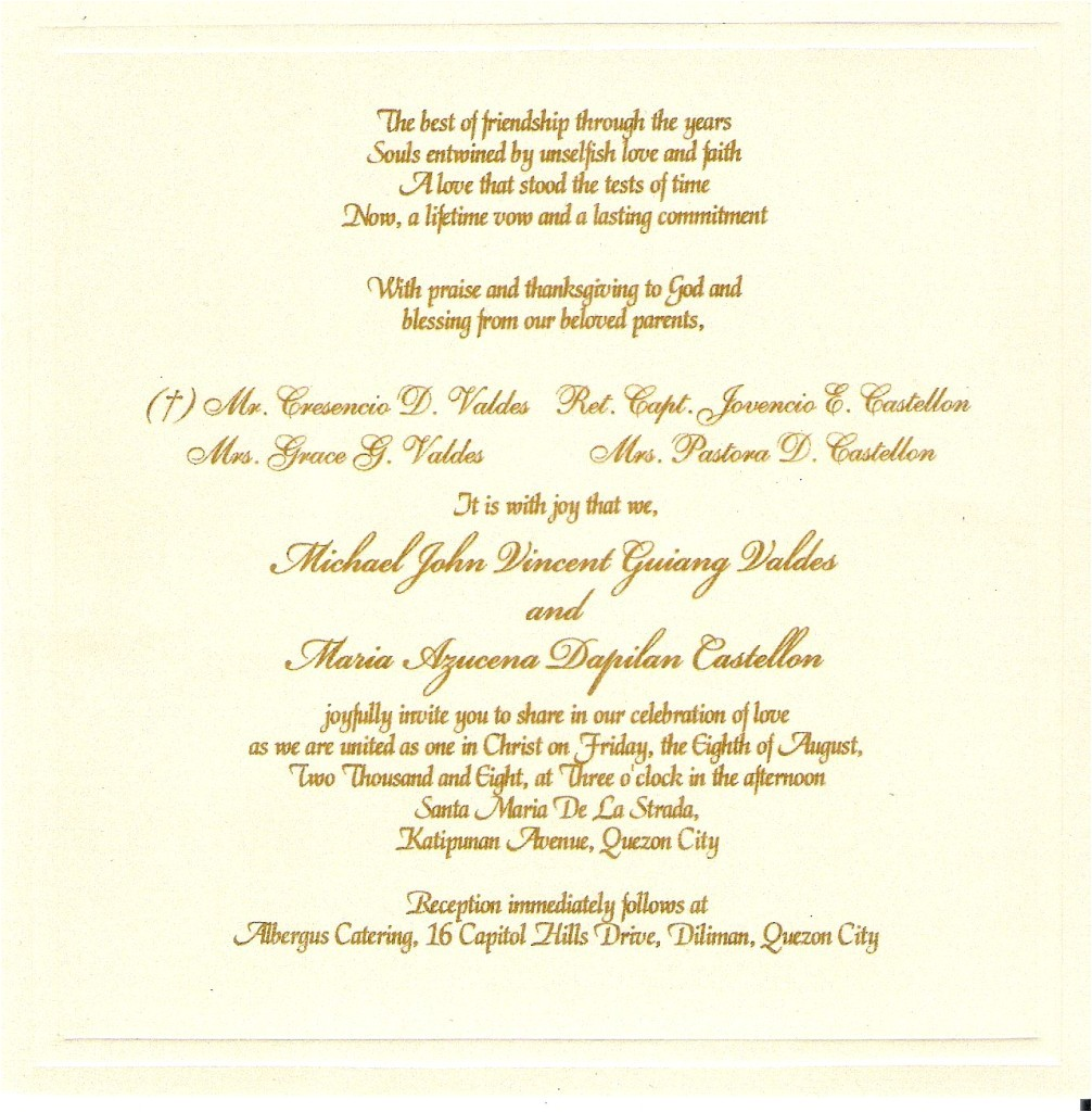 sample wording for wedding invitations template