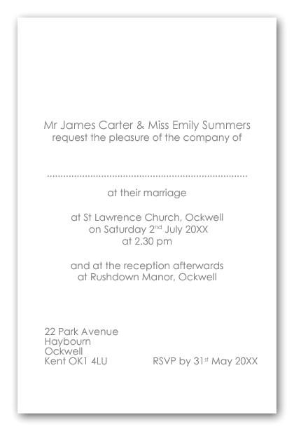 wedding invitation wording uk bride