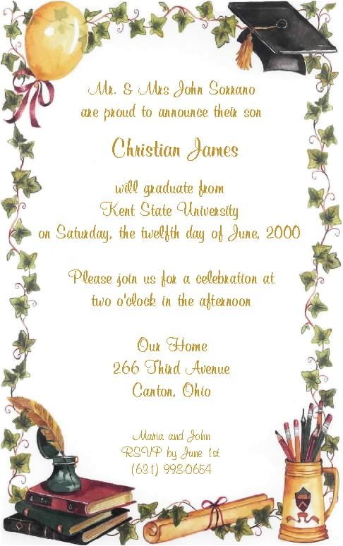 graduation party invitation wording samples