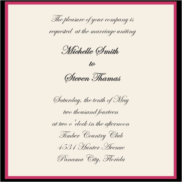 wedding invitation sample wording template