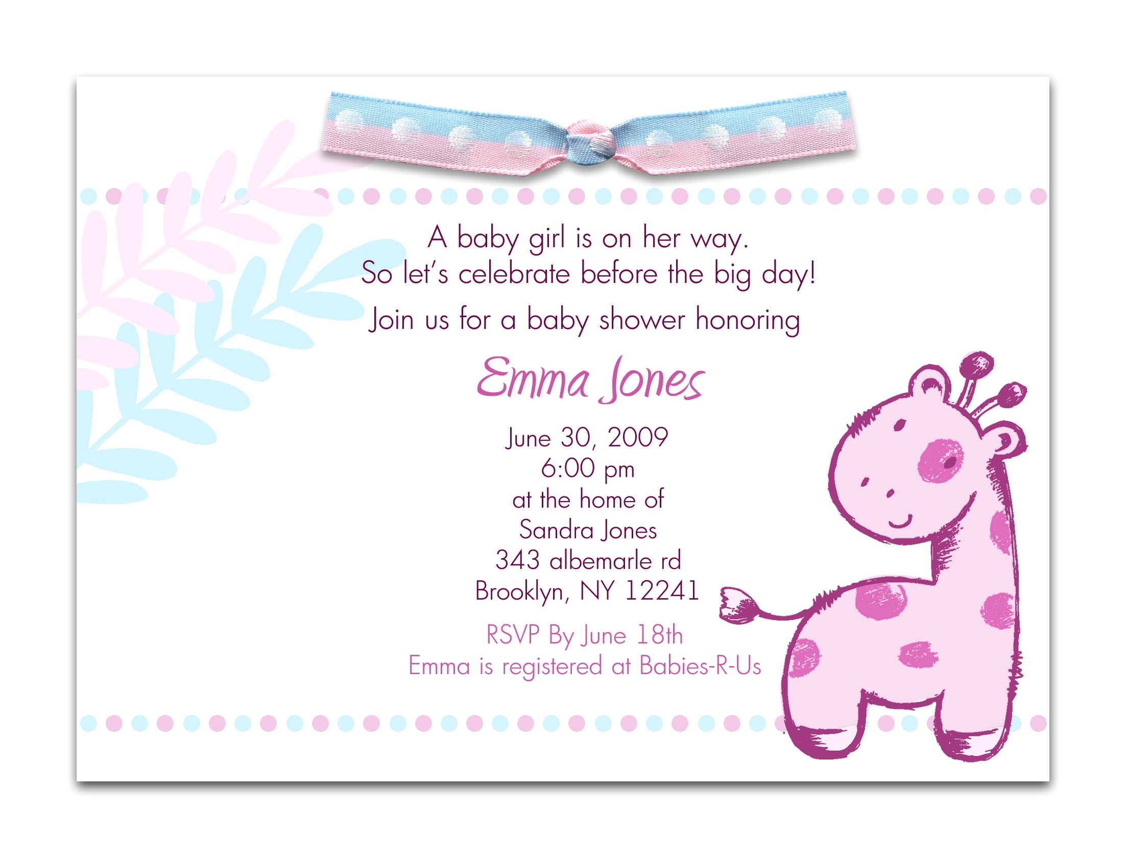 Sayings for Baby Shower Invites Baby Shower Invitation Wording for A Girl theruntime Com