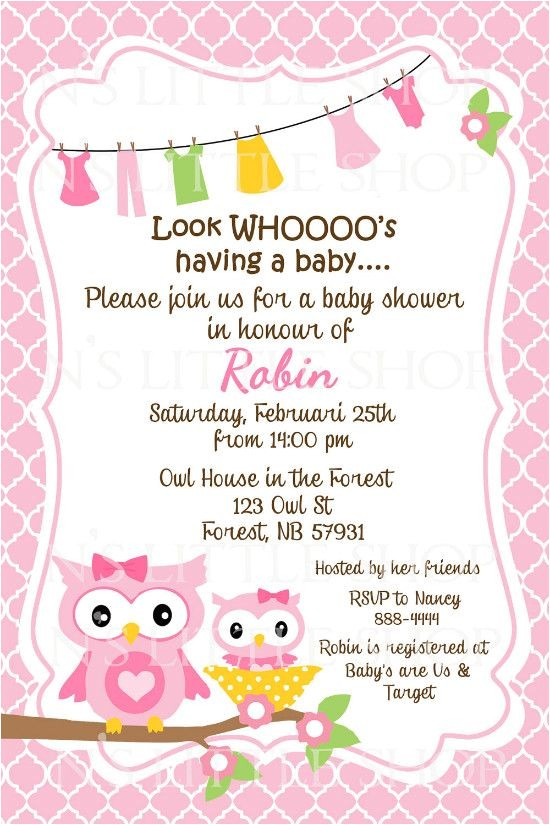 Sayings for Baby Shower Invites Owl Sayings for Baby Baby Shower Invitation Wording