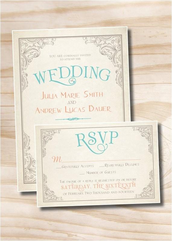 elegant scroll vintage rustic wedding invitation