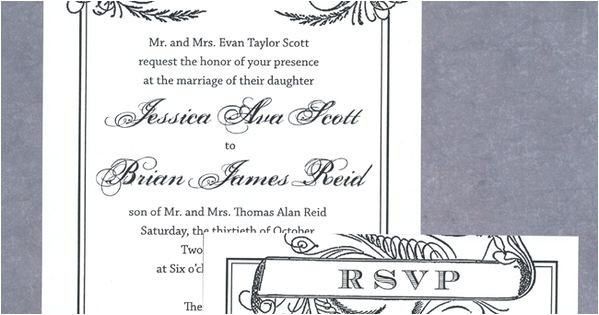 Scroll Wedding Invitations with Rsvp Cards Free Wedding Invitation Printable Download Black Scroll