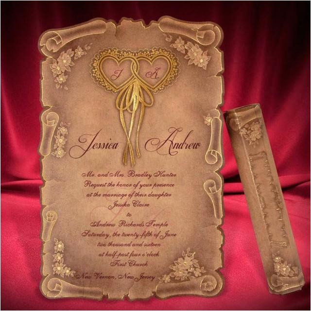 scroll wedding invitation card creative personalized beautiful invitations unique wedding invitation brown medieval style invitations rsvp