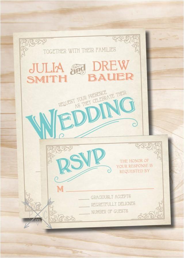 vintage scroll poster rustic wedding invitation response card printed sample set