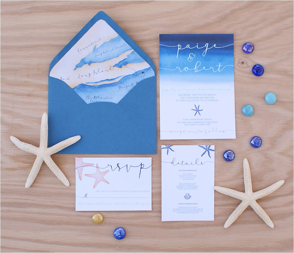 ocean wedding invittaion with wedding map
