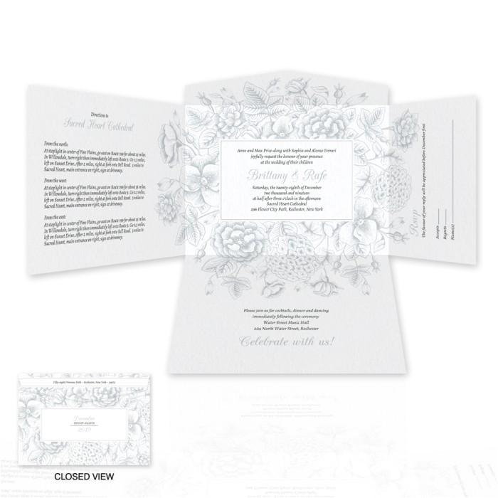 toile reverie self mailer wedding invitation