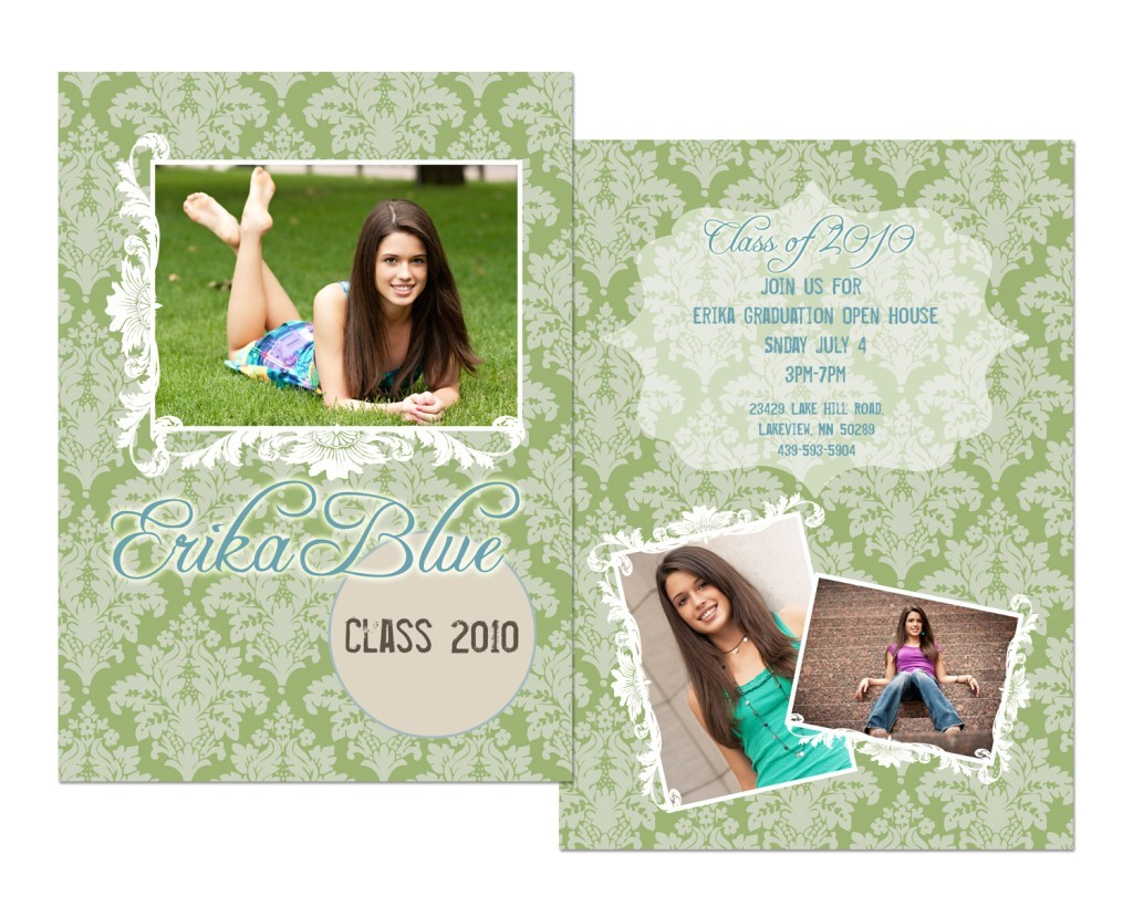 senior graduation announcements for st paul high school senior with girl photos decoration and green letterings