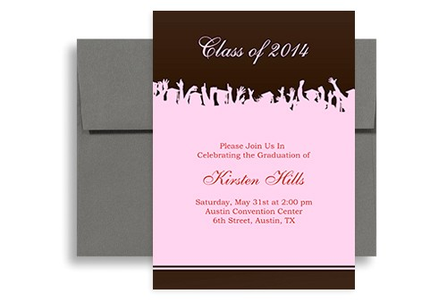 word template pink brown senior graduation party invitation gi 1072