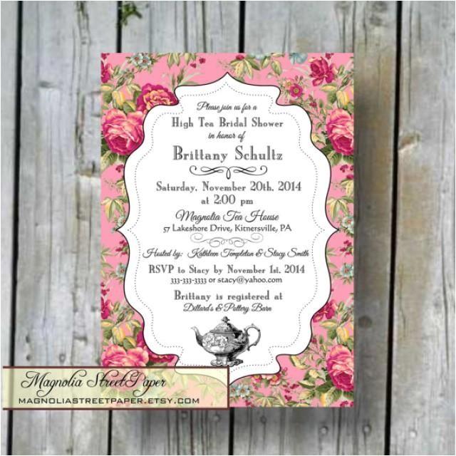 high tea bridal shower invitation custom printable high tea bridal diy bridal invitation shabby chic bridal shower