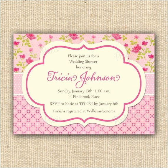 bridal shower invitations shabby chic