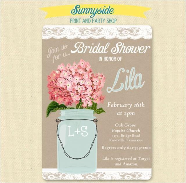 pink hydrangea lace mason jar invitation bridal wedding shower invite shabby chic
