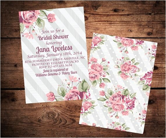 shabby chic bridal shower invitation